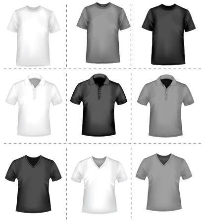 Black and white men polo shirts and t-shirts  Vector