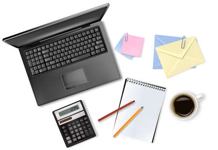Notebook, calculator and office supplies  Vector