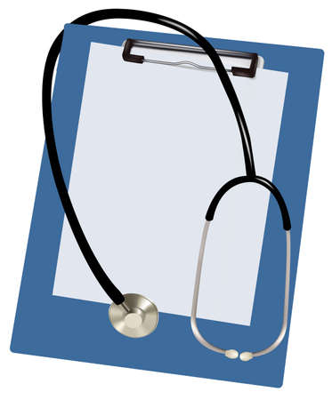 writing instrument: Stethoscope and blank clipboard  Illustration