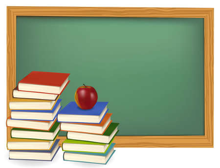 slate: School books with apple on the green desk