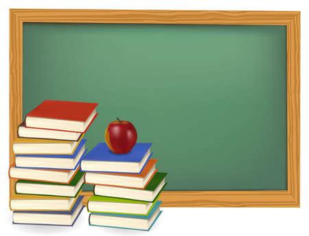 return: School books with apple on the green desk