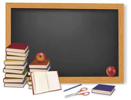 sujeto: Regreso a la escuela. Libros con manzanas en el escritorio