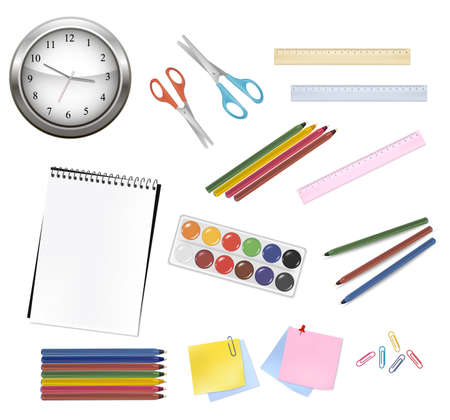 paper scissor: School and office supplies   Illustration