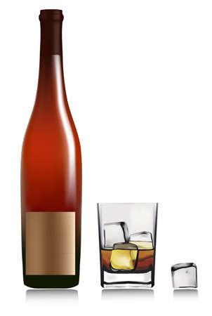 liqueur bottle: Bottle and whiskey in glass