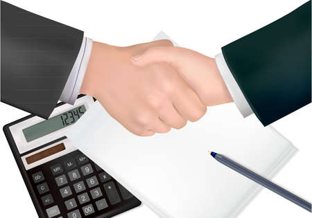 formal signature: Handshake over paper and pen  Illustration