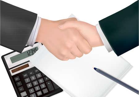 formal signature: Handshake over paper and pen  Illustration