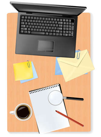 Grey notebook (laptop) and office supplies laying on the board  Vector