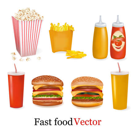 fried: Big set of fast food products. illustration.