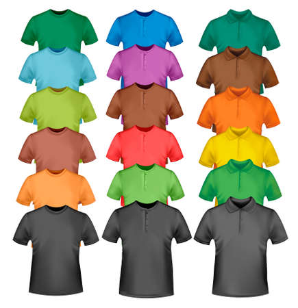 Colored men and women polo and t-shirts. Photo-realistic illustration.  Vector