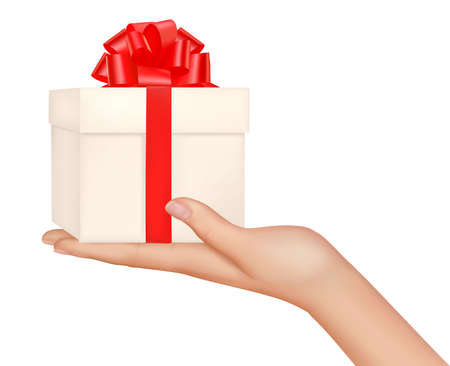 arms open: hands with gift box  Illustration