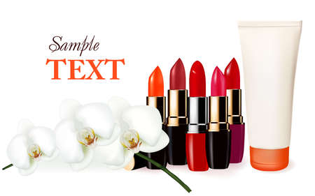 creme: Background with multicolored color lipsticks, cosmetic tube and orchid.