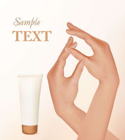 french manicure: Beautiful woman hands with french manicure and tube with skin.  Illustration