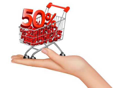 purchasing power: Concept of discount. Shopping cart with sale. illustration