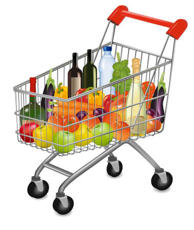 comida rica: Un carro lleno de productos frescos de colorido. ilustración