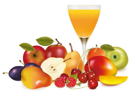 jus orange glazen: Vers fruit en sap. illustratie. Stock Illustratie