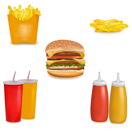 Photo-realistic. Group of fastfood products.  Stock Vector - 9052832