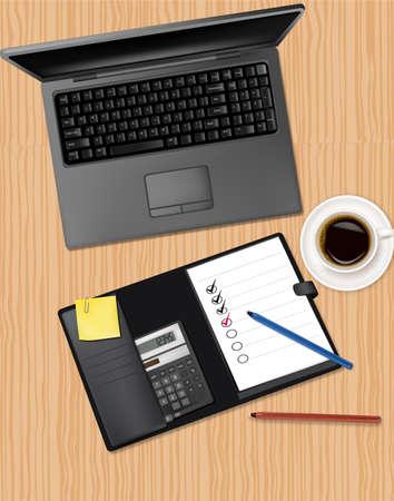 Notebook, telefono e ufficio forniture, posa sul tavolo.