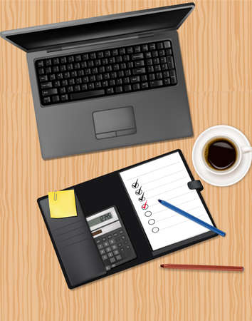 Notebook, phone and office supplies, laying on the table.  Vector
