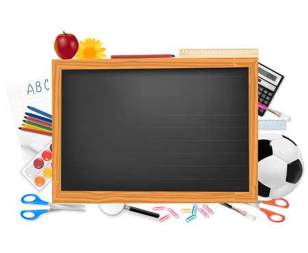 Black desk with school supplies.