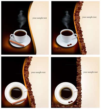 chicchi caff� su sfondo bianco: Quattro design sfondi di caff�.