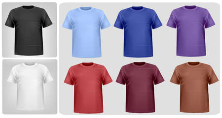 photorealistic: Black and color t-shirts. Photo-realistic illustration