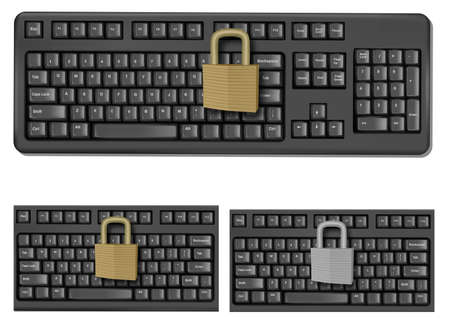 office theft: Set with keyboards with padlock.