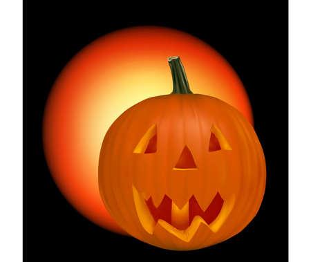 Halloween pumpkin vegetable fruit isolated on black background. Stock Vector - 9052827