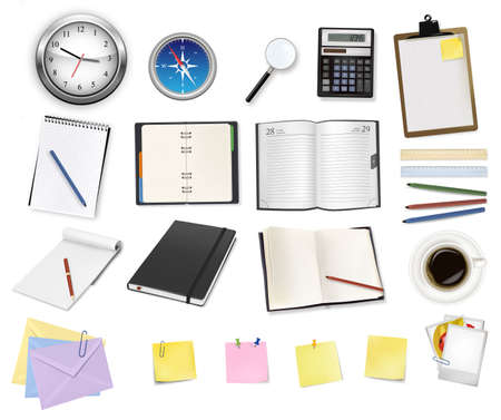 folio: A clock, calculator and some office supplies.