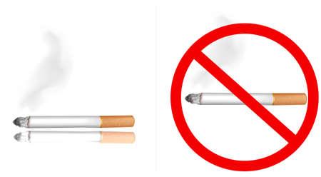 Smoking cigarette and no smoking sign.  Vector
