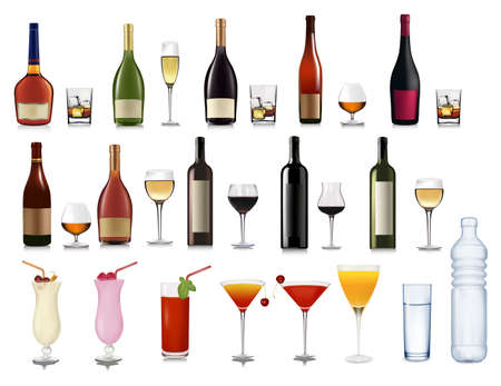 brandy: Set of different drinks and cocktails. illustration.