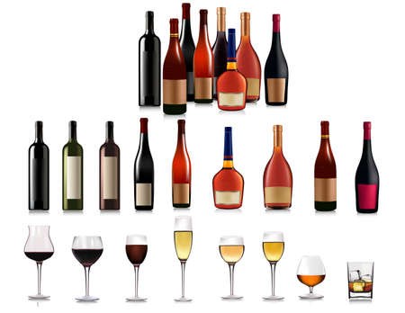bottle of wine: Set of different bottles.  illustration.