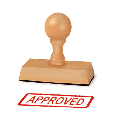 approval: Rubber stamp with the word approved