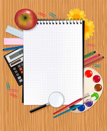 school board: Back to school. School notebook with supplies.