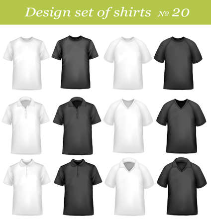 Black and white men polo shirts and t-shirts. Photo-realistic  illustration  Vector