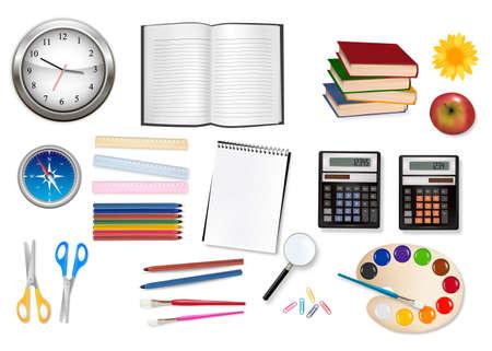 Big set of school supplies.  Vector