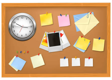 Clock and office supplies.  Vector