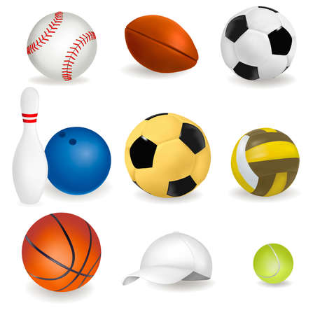hardball: Big set of sport balls and tennis cap. illustration.
