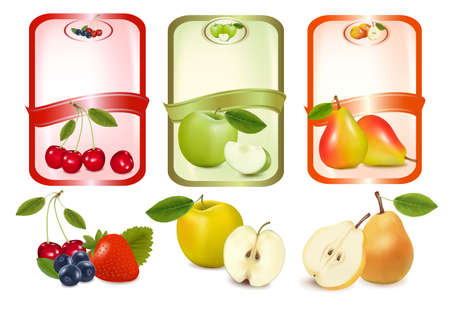 Three labels with berries and fruits.  Vector