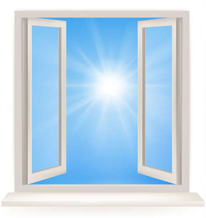 glass window: Open window against a white wall and the cloudy sky and sun. Conceptual shot of freedom and dreaming in real estate business.
