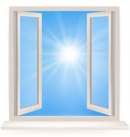 white window: Ventana abierta contra una pared blanca y el cielo nublado y el sol. Tiro conceptual de libertad y so�ando en el negocio de bienes ra�ces.  Vectores