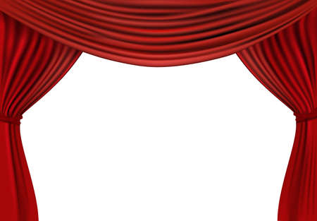 theater seats: Background with red velvet curtain. illustration.