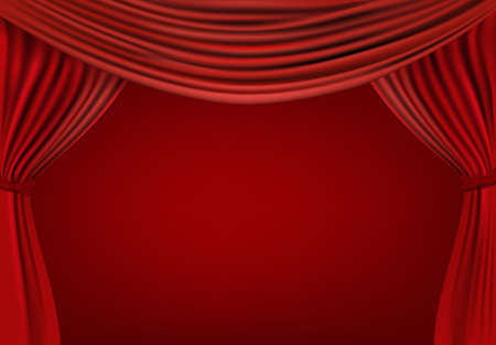 Background with red velvet curtain. illustration.  Vector