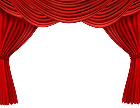 Fondo con cortina de terciopelo rojo. ilustración.