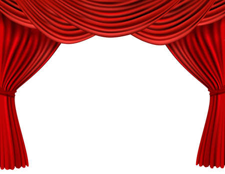 recital: Background with red velvet curtain. illustration.
