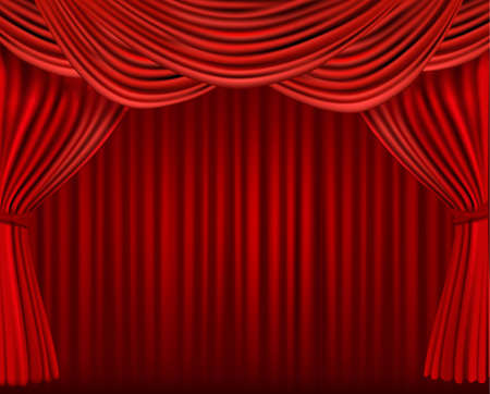 window curtains: Background with red velvet curtain. illustration.