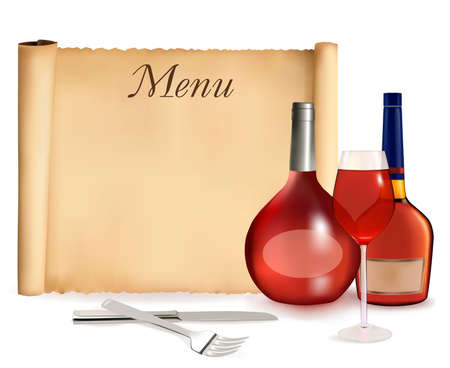 Restaurant menu on the old scroll of paper and bottles of wine. EPS10 with transparency.  Vector