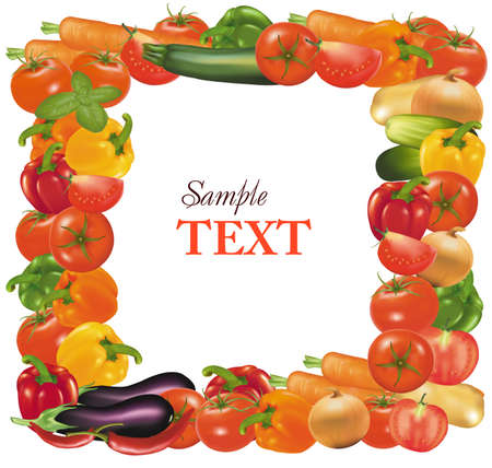 pimenton: Marco de verduras.  Vectores