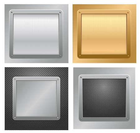 Set of glossy metallic plaques on a textured background. illustration  Vector