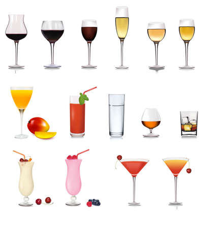 glass wine: Big set of drinks. Vector.