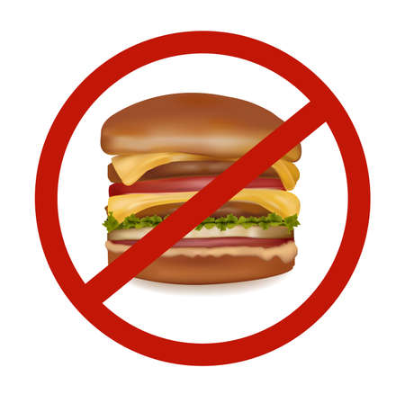 Photo-realistic vector illustration. Hamburger danger label (colored).  Stock Vector - 9108489